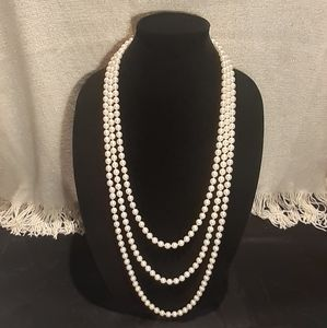 "SUPER LONG Imitation Pearl Necklace (53""x2)"